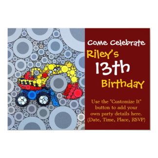 Cool Kids Construction Truck Excavator Digger Personalized Invitation