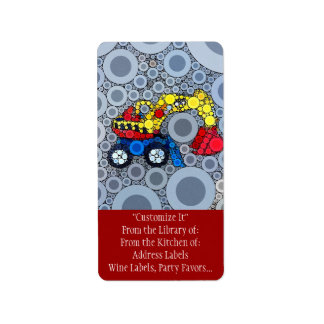 Cool Kids Construction Truck Excavator Digger Label