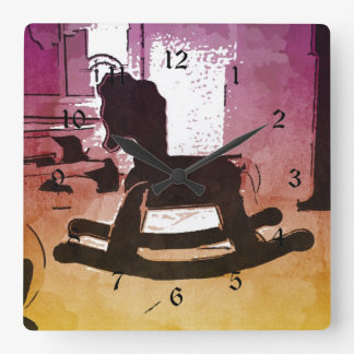 Cool Kids Wooden Rocking Horse Toy Pop Art Square Wall Clock