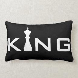 Cool King Typography Chess Player Lumbar Pillow