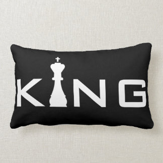 Cool King Typography Chess Player Lumbar Pillow