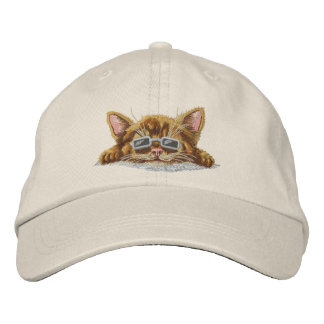 Cool Kitten Embroidered Baseball Caps