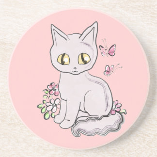 Cool Kitty Cat Pink Coasters