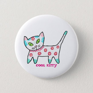 Cool Kitty For Kids Pinback Button