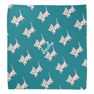 Cool Kitty Pattern Kids Teal Bandana