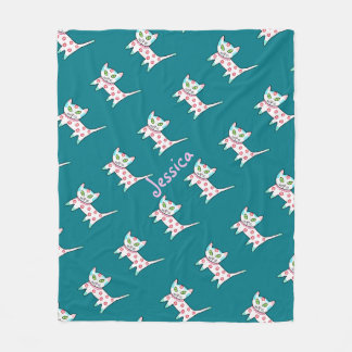 Cool Kitty Pattern Kids Teal Fleece Blanket
