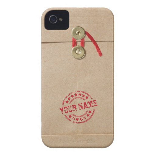 Cool Kraft Envelope with Custom Name Red Seal iPhone 4 Cases