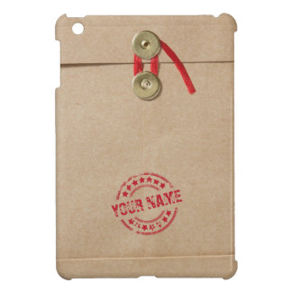 Cool Kraft Envelope with Custom Name Red Seal iPad Mini Covers