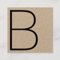 Cool Kraft Professional Monogram Square Square Business Card