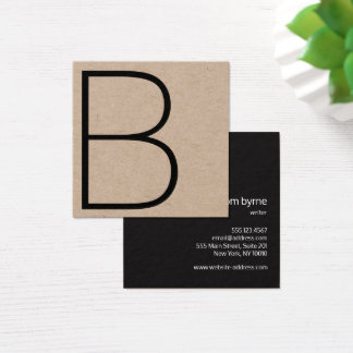 Cool Kraft Professional Monogram Square Square Business Card