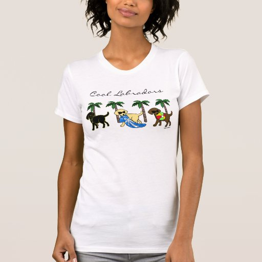 Cool Labradors Beach Party Cartoon Bk T-Shirt