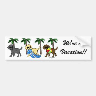 Cool Labradors Beach Party Cartoon Bumper Sticker