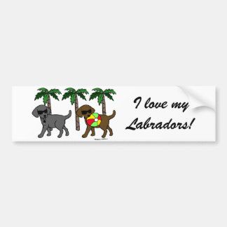 Cool Labradors Beach Party Cartoon Bumper Sticker
