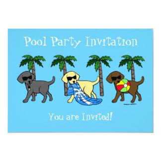 Cool Labradors Beach Party Cartoon Card