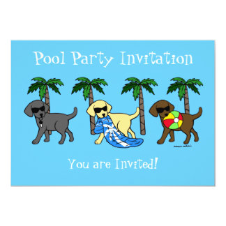 Cool Labradors Beach Party Cartoon 5x7 Paper Invitation Card