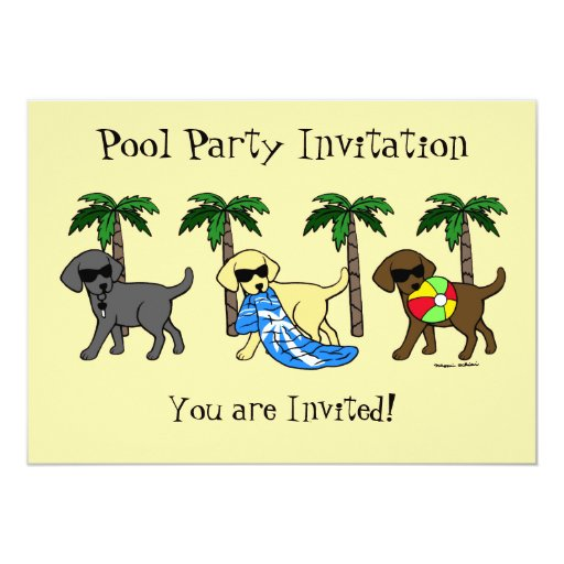 "Cool Labradors Beach Party Cartoon 5"" X 7"" Invitation Card"
