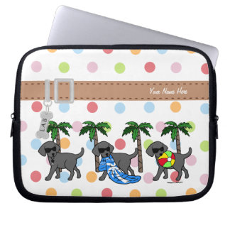 Cool Labradors Beach Party Cartoon Laptop Sleeve