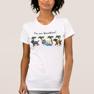 Cool Labradors Beach Party Cartoon T-Shirt