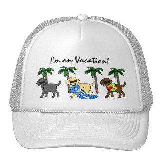 Cool Labradors Beach Party Cartoon Trucker Hat