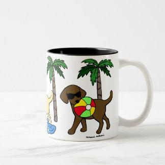 Cool Labradors Beach Party Cartoon Two-Tone Coffee Mug