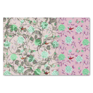 "Cool Lady Grunge Skulls and Teal & Pink Floral 10"" X 15"" Tissue Paper"