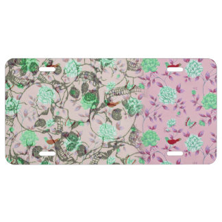 Cool Lady Grunge Skulls and Teal & Pink Floral License Plate