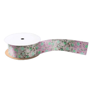 Cool Lady Grunge Skulls and Teal & Pink Floral Satin Ribbon