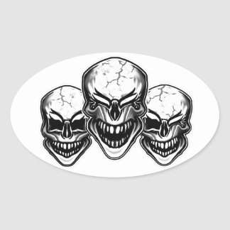 Cool Laughing Skulls Oval Sticker