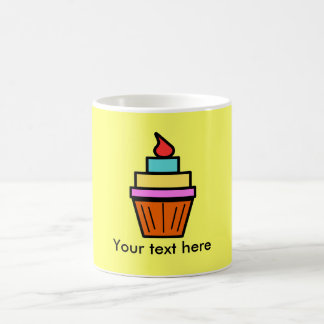 Cool layered cupcake with cherry on yellow mugs