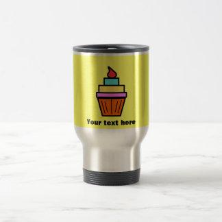 Cool layered cupcake with cherry on yellow mug