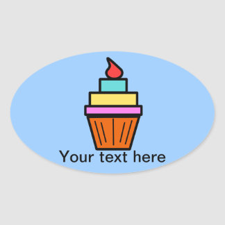 Cool layered cupcake with cherry oval sticker