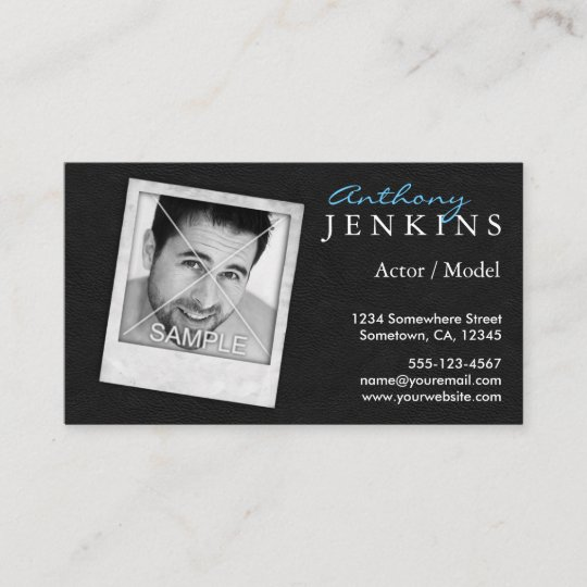 cool leather frame custom photo actor business card zazzle com