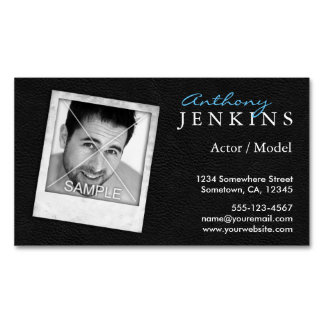 Cool Leather Frame Photo Actor Magnetic Magnetic Business Card