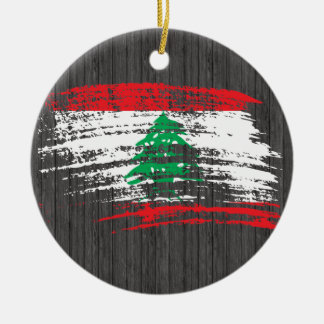 Cool Lebanese flag design Double-Sided Ceramic Round Christmas Ornament