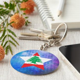 Cool Lebanon Flag Star Basic Round Button Keychain