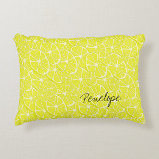 Cool Lemon Slices Pattern Signature Add Your Name Accent Pillow
