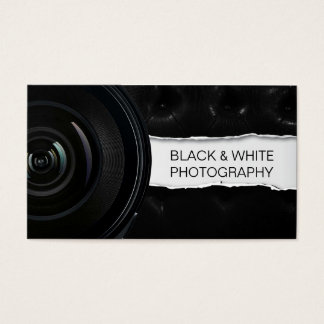 Cool Lens Black Leather Photography Business Card