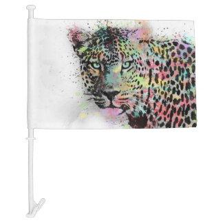 Cool leopard animal watercolor splatters paint car flag