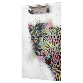 Cool leopard animal watercolor splatters paint clipboard