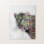 """Cool leopard animal watercolor splatters paint jigsaw puzzle<br><div class=""""desc"""">Cool leopard animal watercolor splatters abstract paint, design, spots, brush, lines, silhouette, sketch, picture, design, drawn, artistic, art, artwork, illustration, bright blue, dark blue, soft pink, hot pink, coral, teal, peacock blue, light blue, aqua green, soft green, yellow, purple, violet, black, grey, white, grey, grunge, colors. Animal, cat, nature, wild,...</div>"""