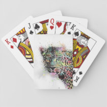 Cool leopard animal watercolor splatters paint playing cards