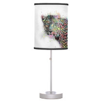 Cool leopard animal watercolor splatters paint table lamp