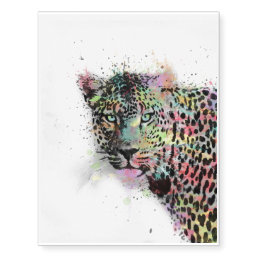 Cool leopard animal watercolor splatters paint temporary tattoos