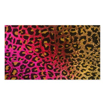 cool leopard print skin bright rough background business card template - Girly Business Cards