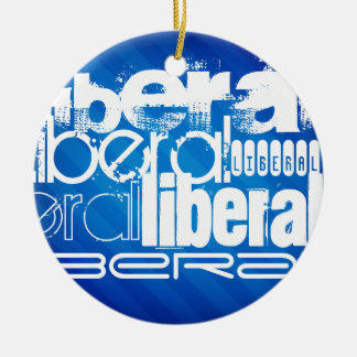 Cool Liberal; Royal Blue Stripes Double-Sided Ceramic Round Christmas Ornament