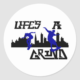 Cool Lifes a Grind Skateboarder design Classic Round Sticker