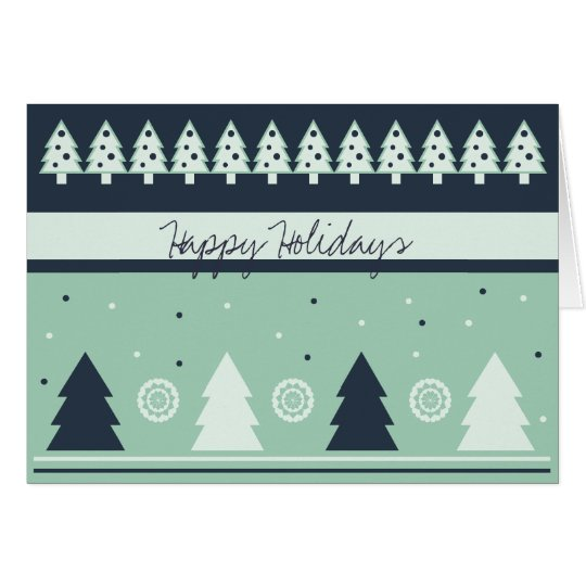 Cool Light and Dark Green Christmas Trees Card