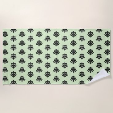 Beach Themed Cool Lime Green & Black Damask Beach Towel