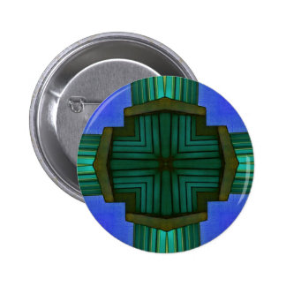 Cool Linear Symmetrical Blue Green Pattern Button