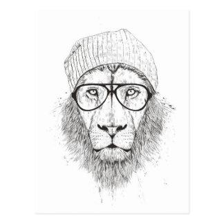 Cool lion (blackandwhite) postcard
